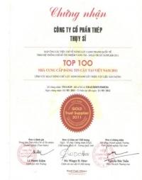 Chứng nhận TOP 100 nhà cung cấp đáng tin cậy tại Việt Nam năm 2011